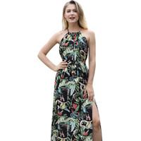 bohemia sling kleid groihandel-Europäische und amerikanische Mode Kleider Damenbekleidung Böhmen SLING SUN KLEID Sommer Dacron Print Zurück Strand Rock Playa Vestidos Mujer