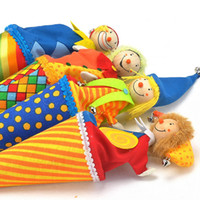 Wholesale Toy Clown Dolls - Cute Clown Pop Up Puppets Kid Toys Colourful Wooden Telescopic Stick Doll Toy New Arrive 14my W