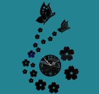 relógios de flores de acrílico venda por atacado-3d flor e borboleta relógio de parede acrílico diy relógio de parede para home living room decoração diâmetro 13 cm