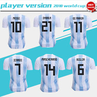 Wholesale Messi Football Player - Player version 2018 world cup Argentina home Soccer Jersey Argentina#10 MESSI soccer shirt #21 DYBALA #9 AGUERO home Football uniforms sales