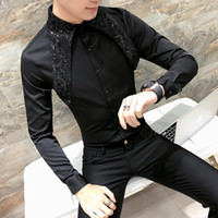 Wholesale Sexy Korean Club Dresses - High Quality Korean Tuxedo Shirt Men Fashion 2018 Spring Summer Sexy Lace Men Shirt Long Sleeve Night Club Singer Costume Shirts