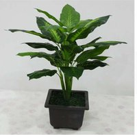 grandes plantas de oficina al por mayor-Gran 50CM Evergreen Artificial Plant 25 Hojas realista Bush Potted Plants Plastic Tree Green Home Garden Office Decoration
