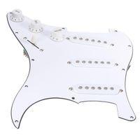 yüklü gitar toptan satış-Beyaz Elektro Gitar 3 Tek Bobin Yüklü Strat Gitar Yedek Aksesuarlar Pickguard Için Prewired Pickguard Meclisi
