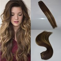 Wholesale highlight hair - ombre color Fading to quot quot G balayage highlights Full head real human hair clip in extensions