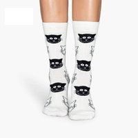 bayanlar mürettebat çorap toptan satış-Penye Pamuk Bayanlar Çorap Renkli Jakarlı Ekip Mutlu Komik Kedi Baskılı Kadın Moda Çorap Toptan Ücretsiz Kargo 12 Çift / grup