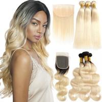 trama ondulada rubia india al por mayor-1B 613 Body Wave 613 Blonde Bundles con Frontal Brasileño Virgin Manojos de cabello humano con cierre Extensiones de cabello Remy rectas