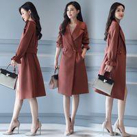 manteau violet à la longue femme achat en gros de-Style coréen femmes all-match tempérament vêtements rouge camel violet outwear dames à manches longues manteau femmes laine polyester se mélange à long manteau