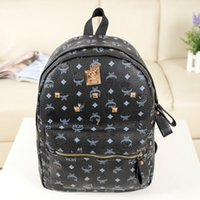 Wholesale korean designer brands - Wholesale Punk style Rivet Backpack Fashion Men Women Cheap Knapsack Korean Stylish Shoulder Bag Brand Designer Bag High-end PU School Bag