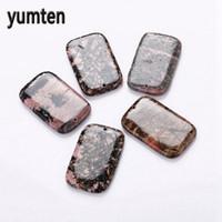 Wholesale peach gemstone resale online - Yumten Peach Stone Pendant Rectangular Natural Jewelry Women Men Necklace Reiki Chakra Healing Gemstone Collier