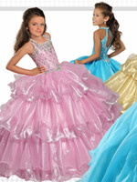 Wholesale romantic dresses for prom for sale - Group buy Romantic Halter Girls Pageant Dresses Cheap Layers Keyhole Back Crystal Beaded Organza New Little Girls Party prom Dresses For Kids Girls