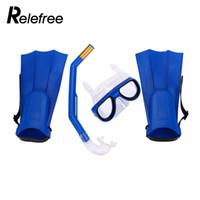 tubo de agua para niños al por mayor-Kit Profesional de Natación Máscara de Buceo Tubo de Respiración Aletas Deportes Acuáticos PC Niños Máscara Anti-Buceo Máscara Snorkel Gafas Gafas