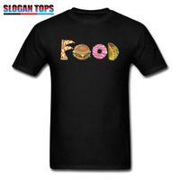 ingrosso tessuto di stampa alimentare-Cibo squisito stampato in maglietta Tessuto in cotone Magliette Uomo T Shirt Divertente Burger Tops Ciambella Tees Abbigliamento amante Taco Camicie nere
