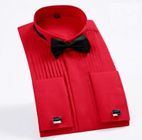 düğün için uzun gömlek toptan satış-Erkek Uzun Kollu Saf Renkler Tops Düğün Smokin Gömlek Yeni Sıcak Satmak Erkekler Düğün Gömlek