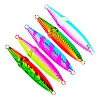 ingrosso richiami laser-Double-sided Arcobaleno Colori Laser Metal esche 40g 60g 80g 100g Antiruggine Piombo Pesce Spinnerbaits Pesca in mare richiamo