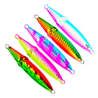 Wholesale saltwater fishing lures wholesale - Double sided Rainbow Colors Laser Metal Jigs bait g g g g Antirust Lead Fish Spinnerbaits Saltwater Fishing lure