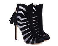 d9ab411b7616a 2018 été sexy évider chaussures à talons hauts femmes pompes sandales mode  fil net glands bottes fraîches femme chaussures à bout ouvert noir
