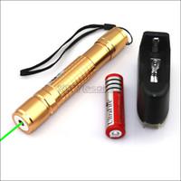 lazer işaretçi piller toptan satış-GX2 Piller Şarj Cihazı ile 532nm Altın Ayarlanabilir Odak Yeşil Lazer Pointer