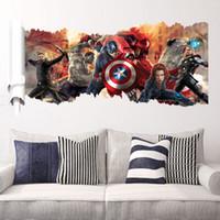 autocollants muraux pour hommes en fer achat en gros de-Film 3D Marvel héros Hulk Iron Man Capitaine The PVC Stickers Stickers muraux Murale Home Decor enfants garçon chambre cadeau d'anniversaire