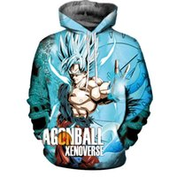 Wholesale dragon ball sweater - Unisex 3D Digital Print Dragon Ball Z Sweater Pocket Hooded Sweatshirt Big Pockets Hoodie Sweatshirt for Halloween as gift