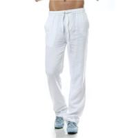 calças de lã homens venda por atacado-Pantalon homme Calças Casuais homens calças de Linho homens marca calças de linho estilo solto de Linho Dos Homens de roupas
