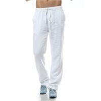 pantalones de lino estilo de los hombres al por mayor-Pantalon homme Pantalones Casual hombres Pantalones de lino hombres marca de ropa de lino suelta estilo Lino Mens clothing