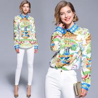 Wholesale women button front shirt - 2018 Runway Luxury Fashion Geometric Print OL Women Ladies Casual Office Button Front Lapel Neck Long Sleeve Top Shirt Blouse New Arrival