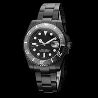 espelho marcas relógios venda por atacado-2018 RELÓGIO DE LUXO Marca All Black Dial Cerâmica Bezel Aço Inoxidável 40mm Espelho De Vidro Safira Automático Mecânico Homens Mens Watch Relógios