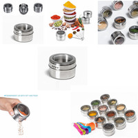 Wholesale Pepper Pots - Stainless Steel Sugar Bowl Pot Seasoning Cans Kitchen Spice Bottle Pepper Shakers Salt Container kitchen tool GGA381 200PCS