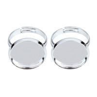 anillo de joyas en blanco bandejas al por mayor-XINYAO 10 unids / lote Ajustable En Blanco Anillo Base Fit Dia 10 12 14 16 18 20 mm Cabujón Configuración de Cameo Bandeja Bricolaje Fabricación de Joyas K0031