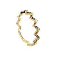 imitação anéis de noivado ouro branco venda por atacado-1 pcs 2018 mais recente new chegou cz jóias de ouro preenchido pavimentada multi cor rainbow cz pilha onda anéis de dedo para festa de casamento presente