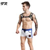 Wholesale harness tops - Fr New Men 'S Camouflage Neoprene Harness Shoulder Supports Braces Protective Gear Fitness Bodybuilding Men 'S Neoprene Tank Tops
