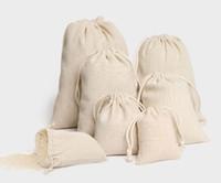 bolsos de lino del favor del cordón al por mayor-Joyería Bolsa de cordón de lino 8x10cm 9x12cm 10x15cm 13x17cm 15x20cm 20x30cm Fiesta Caramelo del favor Bolsa de algodón Bolsa de embalaje de regalo Bolsa de sacos
