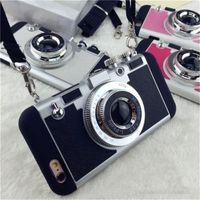 iphone 5g arka kamera toptan satış-YunRT Lüks Stil retro 3D kamera telefonu darbeye dayanıklı koruyucu Desen PC hard case Arka Kapak iphone 5 5G 6x6 7 8 s