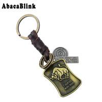 брелок для ключей оптовых-12 Constellations Leather Keychain Anime Vintage Alloy Taurus Pendant Key Chains Car key holder Handbag chaveiro Diy Rings