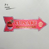 Wholesale Homemade Packaging - DL-Cupcake east in town homemade metal arrow sign pink outdoor wall painting for cafe Cake shop