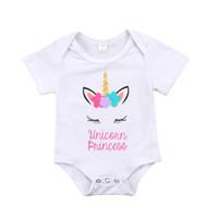 Wholesale 2t romper boys suit resale online - Newborn Baby Infant Girls Unicorn Letter Princess White Short Sleeve Romper Body suit Playsuit Clothes Outfit M Clothing