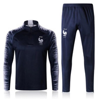 stars du sport football achat en gros de-Survêtements veste 2 étoiles 2018 MBAPPE GRIEZMANN POGBA DEMBELE maillot de football KANTE costume d'entraînement de football chandal pantalon slim