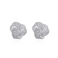 pregos de brinco esférico venda por atacado-Nova Chegada 925 sterling silver Spherical simples tecido Stud Brincos moda Jóias para as mulheres presentes direto da Fábrica frete grátis LKNSPCE013