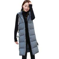 ingrosso giacca imbottita lunga-Plus Size 3XL Women Winter Gilet 2018 New Medium Long Vest Gilet imbottito in cotone senza maniche Gilet con cappuccio donna Vest D292