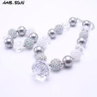 Wholesale Chunky Necklace Sets - MHS.SUN Grey Color Chunky Necklace&Bracelet Set Fashion Pendant Beads Children Girl Bubblegum Chunky Bead Necklace Jewelry Set