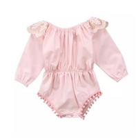 Wholesale newborn ruffle rompers wholesale - Newborn Baby Girls Clothing Kids Pink Romper Long Sleeve Outfits Autumn Spring Ruffles Rompers Jumpsuit Fashion Kid Girl Clothing 0-24M B11