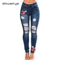 ingrosso matita di ricamo delle donne-Jeans strappati per le donne 2017 Jeans delle donne Pantaloni della matita femminile Denim con ricamo Plus Size vita alta jean Femme