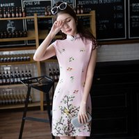b90aef377 NORIVIIQ Fashion Sexy New Chinese Traditional Dress Slim Improve Cheongsam  Qipao Short Paragraph Retro Standing Collar Low Slits