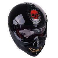 motorcycle retro toptan satış-Kafatası Yüz Motosiklet Kask Modüler Flip Up Kask Motosikletler Chopper Retro Biker Vintage Cruiser Sanat Hayalet Kaskları