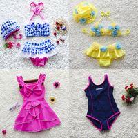 Wholesale bikini size girls - Kids Bathing Suits In Swimming Pool Bikini Trajes de Baño Maillots de Bain Bañador Plus Size 2XL Swimsuit Surf Clothing Two-piece 26 Designs