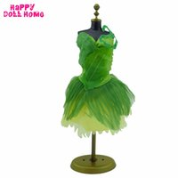 Wholesale Handmade Wool Dresses - Handmade Fairy Tale Green Dress Wedding Party Gown Princess Outfit Clothes For Barbie FR Doll Accessories Kid Dollhouse Toy Gift