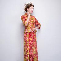 dragão vermelho cheongsam venda por atacado-Vestido tradicional bordado chinês qipao vermelho noiva vintage casamento cheongsam oriental vestidos de festa robe chinoise dragão longo