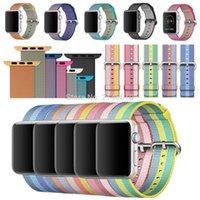 тканевые наручные часы оптовых-Replacement Woven Nylon Fabric Sport Strap Watch Band Bracelet Wristbands  38MM 42MM series 3&2&1 Classic Buckle