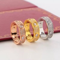 Wholesale Tension Lover - New Arrival Top Quality 316L Titanium steel Love rings lovers Band Rings Size for Women in 6mm width with three lines diamond Jewelry