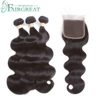 Wholesale wavy ombre hair extensions online - Brazilian Hair Weave Bundles Body Wave Human Hair Bundles With Closure Wavy And Lace Closure Remy Hair Extension